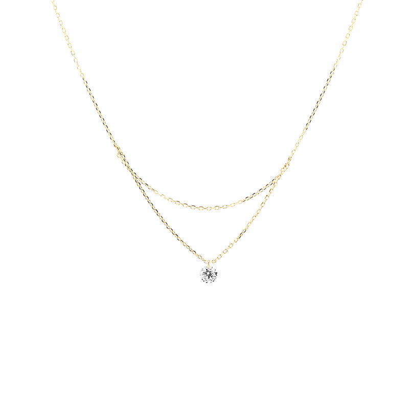 18'' Gold Single Diamond Layered Necklace - Mighty Dainty