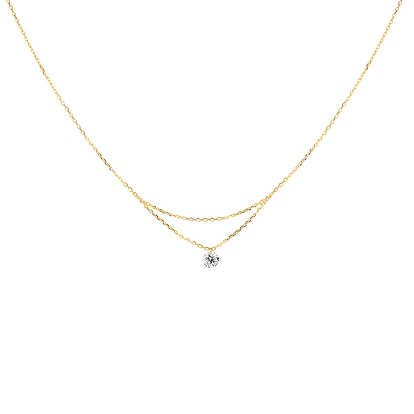 16'' Gold Single Diamond Layered Necklace - Mighty Dainty