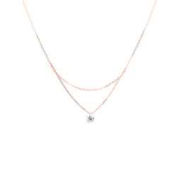 18'' Rose Gold Single Diamond Layered Necklace - Mighty Dainty
