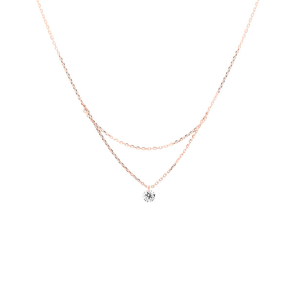 18'' Rose Gold Single Diamond Layered Necklace