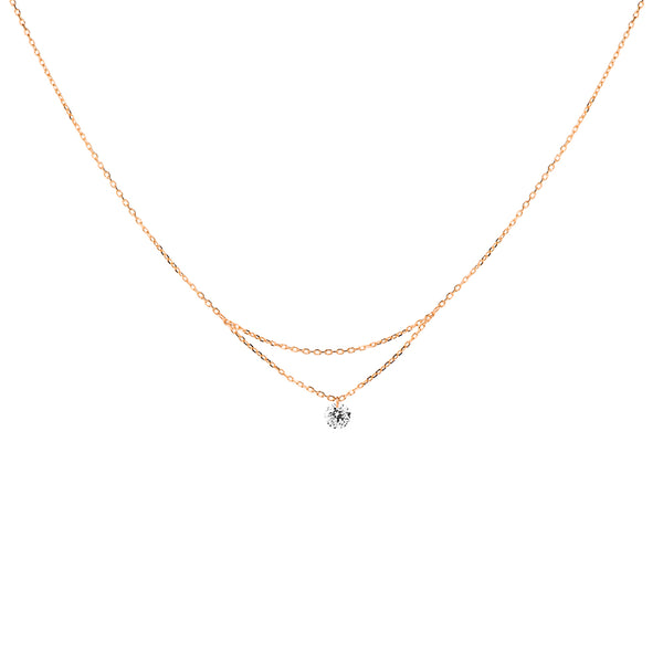 16'' Rose Gold Single Diamond Layered Necklace - Mighty Dainty