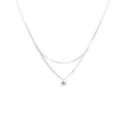 18'' White Gold Single Diamond Layered Necklace - Mighty Dainty