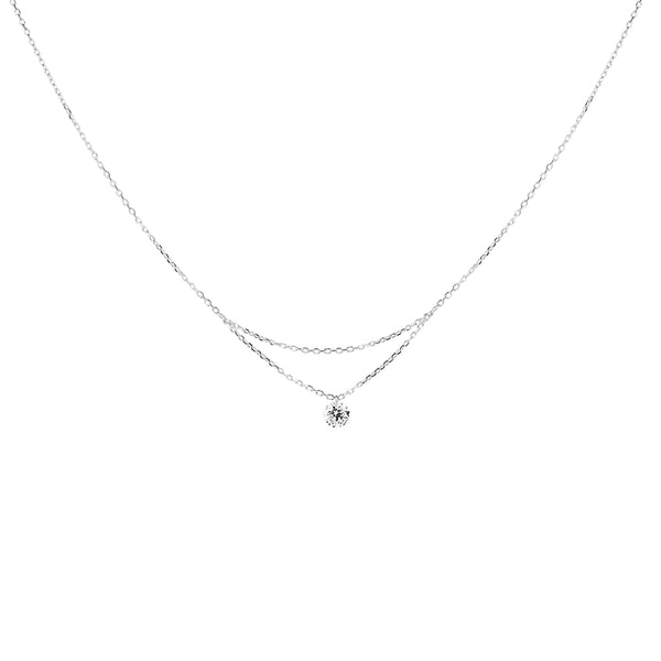 16'' White Gold Single Diamond Layered Necklace - Mighty Dainty