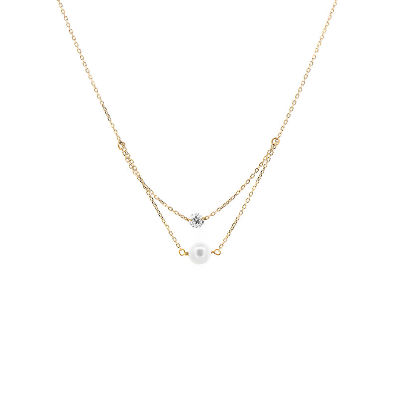 Gold Diamond And Pearl Layered Necklace