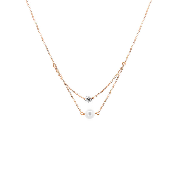 Rose Gold Diamond And Pearl Layered Necklace - Mighty Dainty