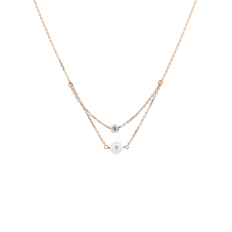 Rose Gold Diamond And Pearl Layered Necklace