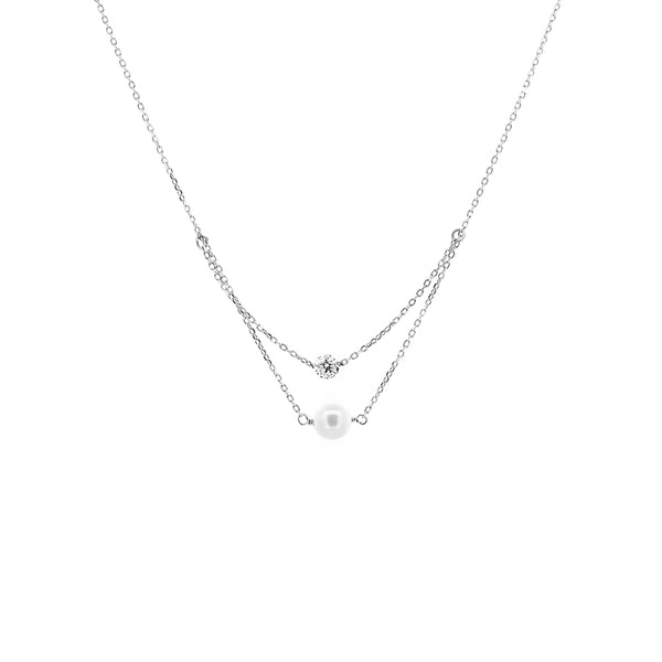 White Gold Diamond And Pearl Layered Necklace - Mighty Dainty