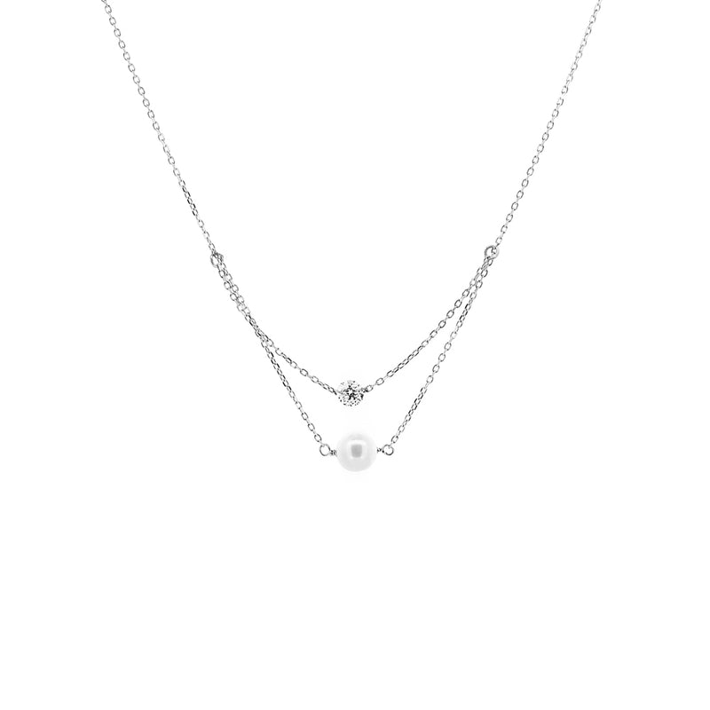 White Gold Diamond And Pearl Layered Necklace