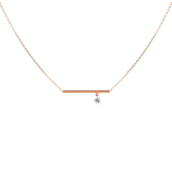 Rose Gold Bar and Diamond Necklace - Mighty Dainty