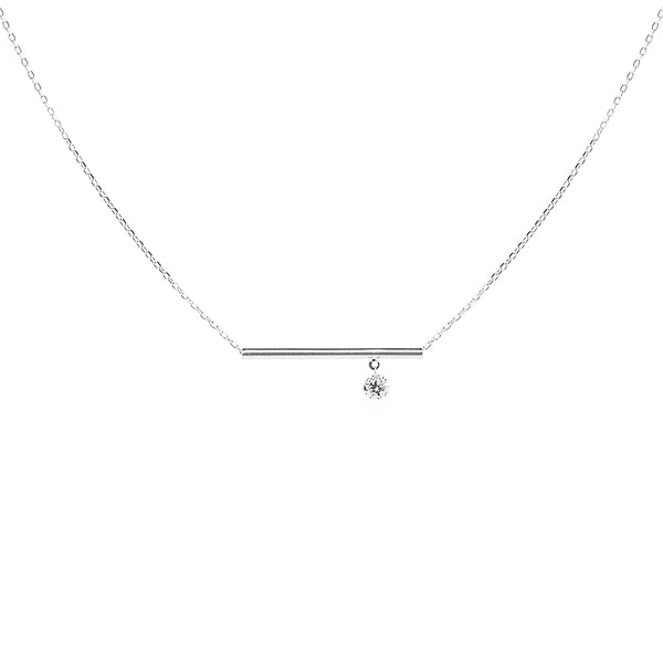 White Gold Bar and Diamond Necklace - Mighty Dainty