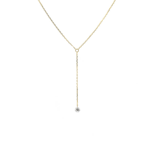 Gold Single Diamond Y-Necklace - Mighty Dainty