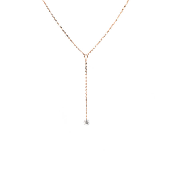Rose Gold Single Diamond Y-Necklace