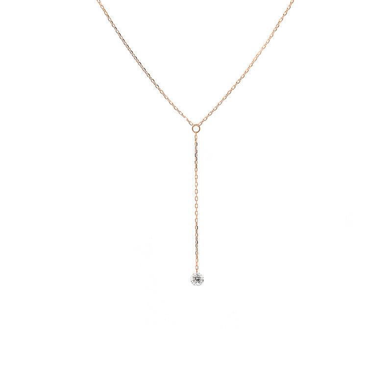 Rose Gold Single Diamond Y-Necklace - Mighty Dainty