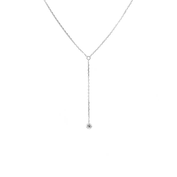 White Gold Single Diamond Y-Necklace - Mighty Dainty