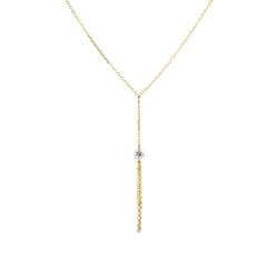 Gold Diamond and Tassel Y-Necklace