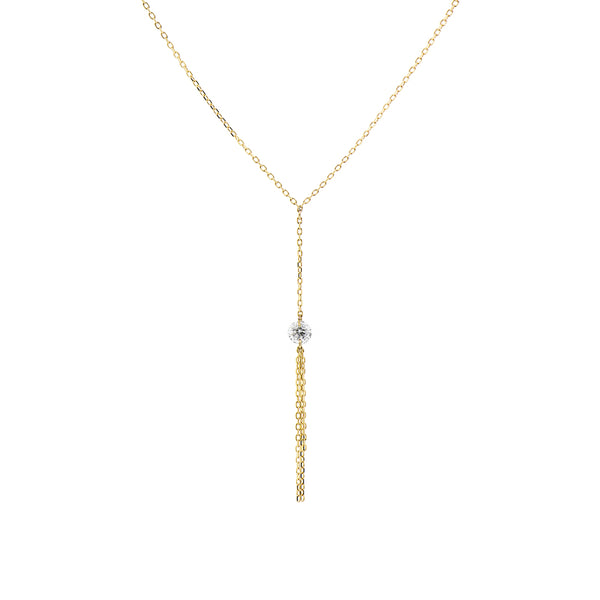 Gold Diamond and Tassel Y-Necklace - Mighty Dainty