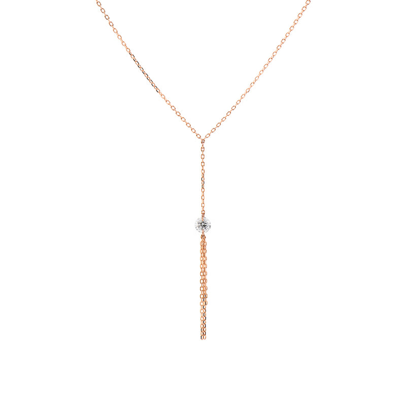 Rose Gold Diamond and Tassel Y-Necklace - Mighty Dainty