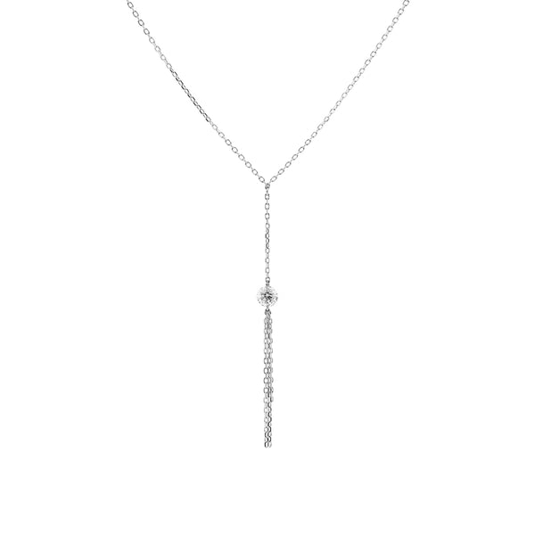 White Gold Diamond and Tassel Y-Necklace