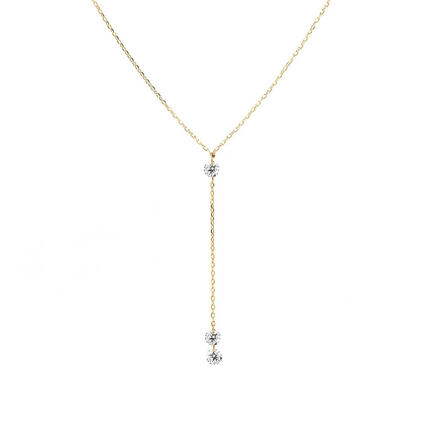 Gold Three Diamonds Y-Necklace