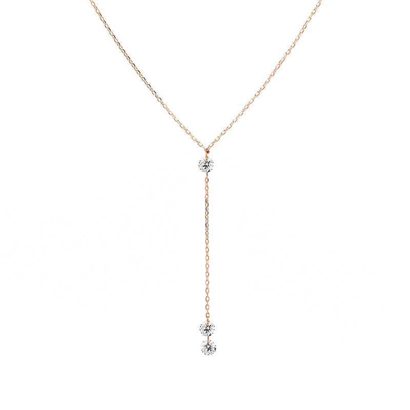 Rose Gold Three Diamond Y-Necklace