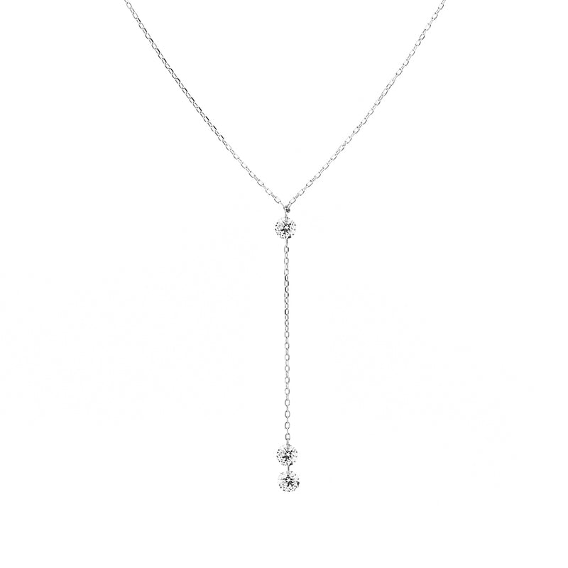 White Gold Three Diamond Necklace