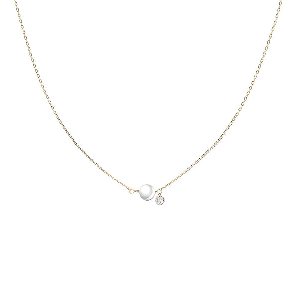 Gold Pearl and Diamond Necklace - Mighty Dainty