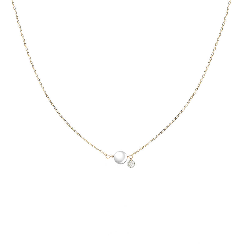 Gold Pearl and Diamond Necklace