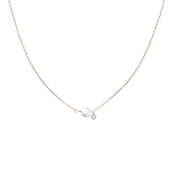 Rose Gold Pearl and Diamond Necklace - Mighty Dainty