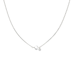 White Gold Pearl and Diamond Necklace - Mighty Dainty