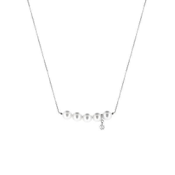 White Gold Five Pearl and Diamond Necklace - Mighty Dainty