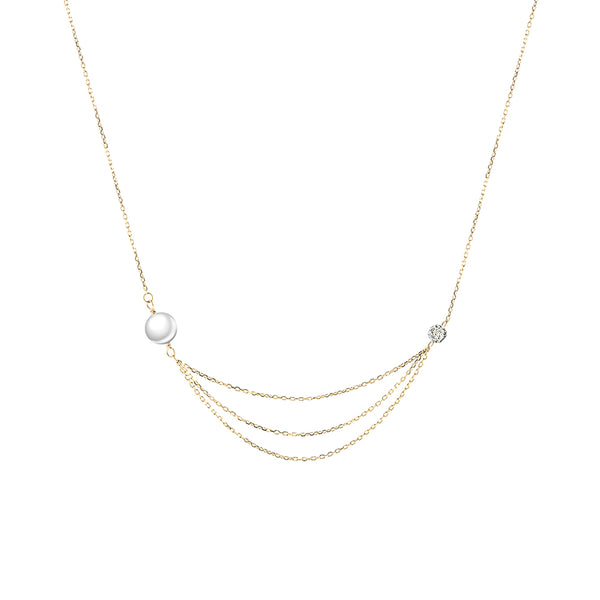 Gold Diamond and Pearl Multi-Layered Necklace - Mighty Dainty
