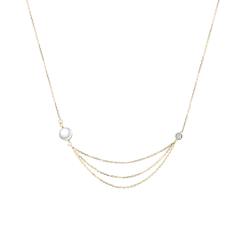 Gold Diamond and Pearl Multi-Layered Necklace