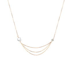 Rose Gold Diamond and Pearl Multi-Layered Necklace