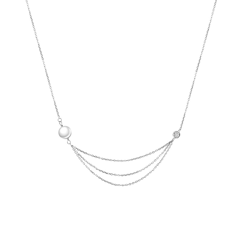 White Gold Diamond and Pearl Multi-Layered Necklace - Mighty Dainty