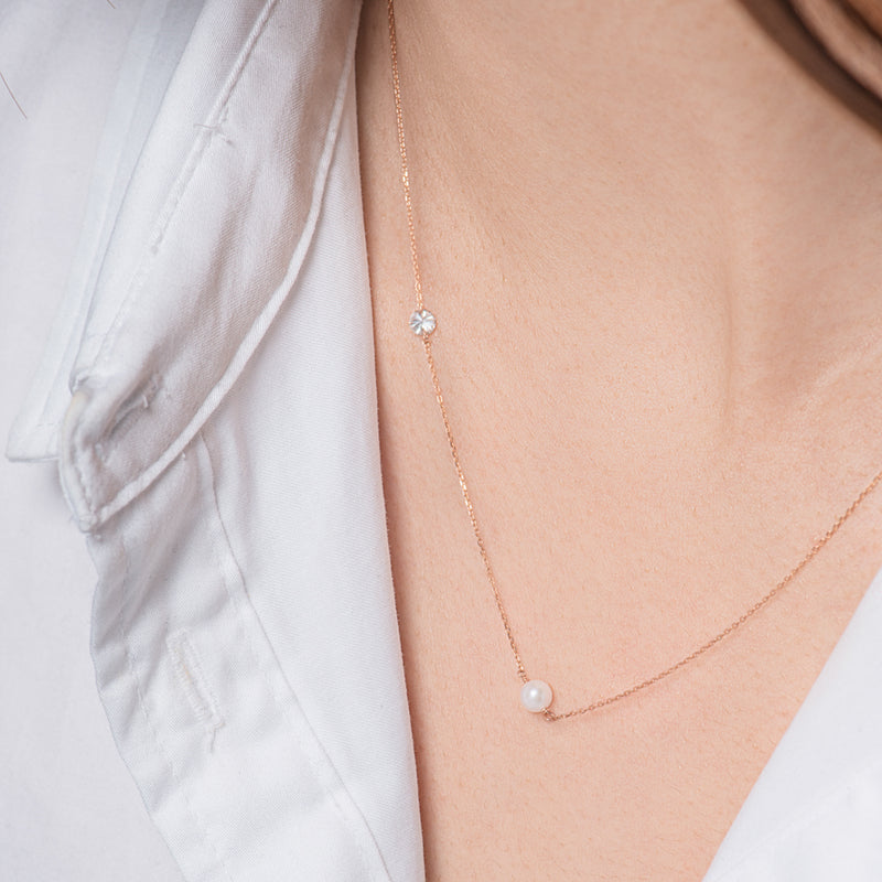 Rose Gold Asymmetrical Diamond and Pearl Necklace