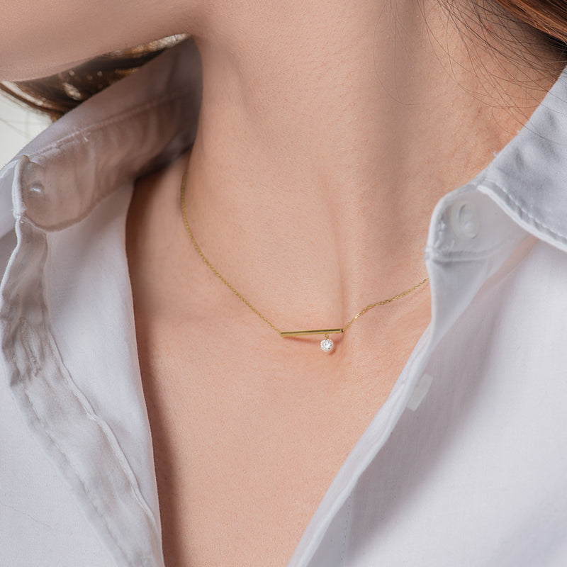 Gold Bar and Diamond Necklace - Mighty Dainty