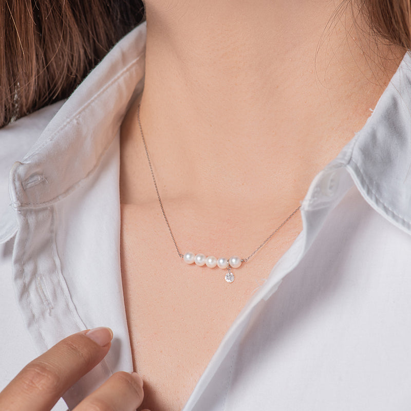 White Gold Five Pearl and Diamond Necklace