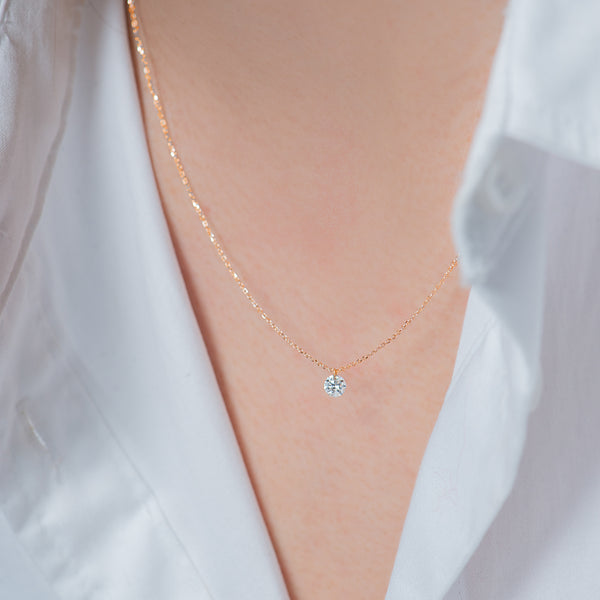 Rose Gold Single Small Diamond Necklace