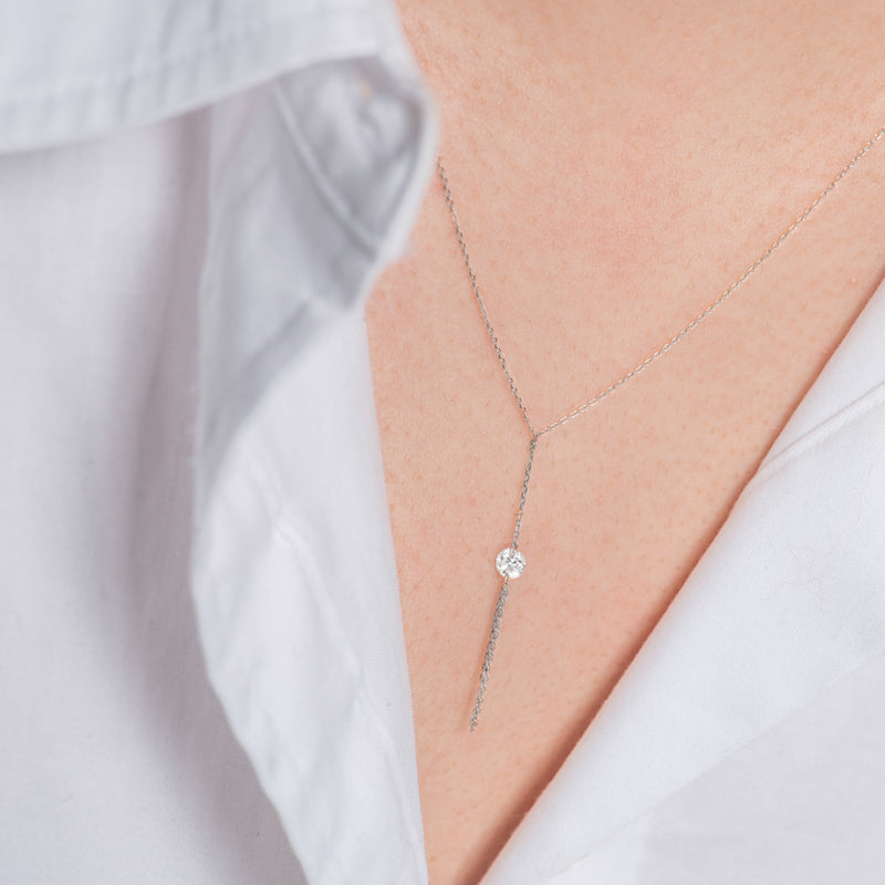 White Gold Diamond and Tassel Y-Necklace - Mighty Dainty