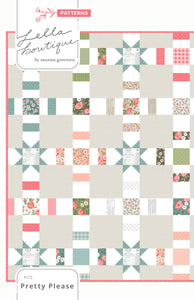 Pretty Please charm pack quilt PDF pattern by Lella Boutique. Easy beginner quilt using Love Note fabric by Lella Boutique for Moda Fabrics.