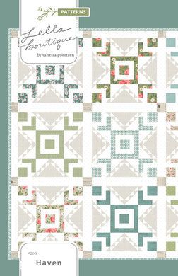 Haven star block quilt pattern by Lella Boutique. Make it with fat quarters. Fabric is Love Note by Lella Boutique for Moda Fabrics.