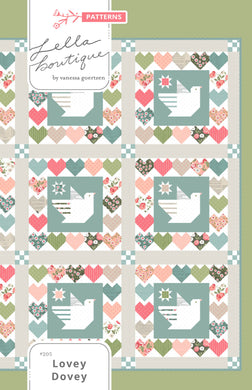 Lovey Dovey spring quilt PDF pattern with doves + hearts. Fabric is Love Note fabric collection by Lella Boutique.