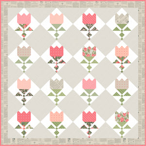 Tulip Shop fat eighth quilt PDF pattern by Lella Boutique. Fabric is Love Note fabric collection by Lella Boutique.