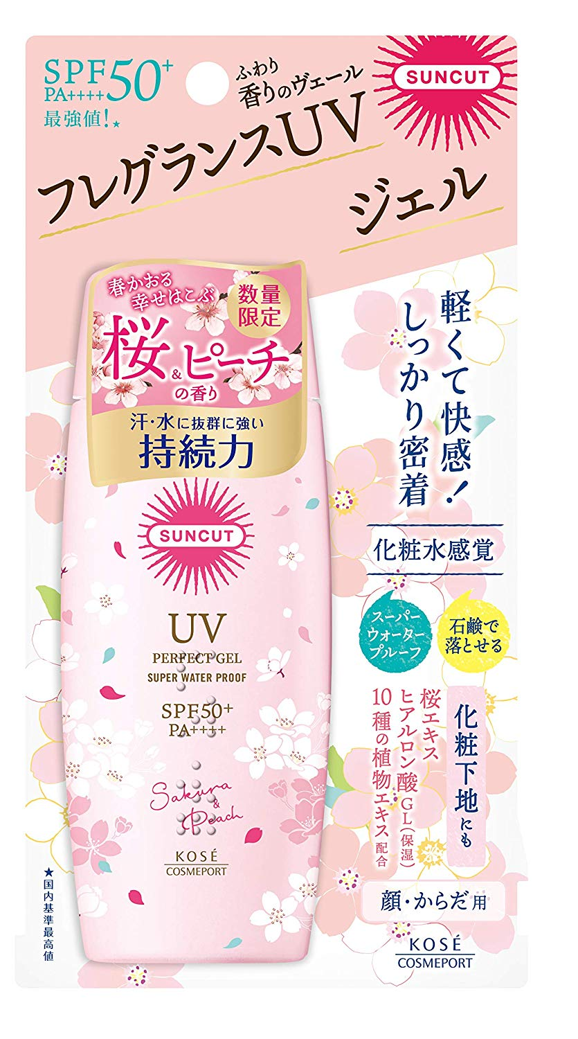 KOSE Suncut UV Protect Gel Sunscreen SPF50+ PA++++ Cherry & Peach Scent (100g)