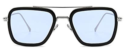 Tony Stark Glasses - Mirrored Blue Iron Man Glasses