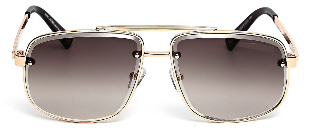 Rectangular Sunglasses - Elegant touch of brown and gold
