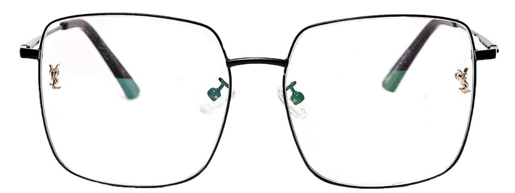 Black rectangular frame having green ends