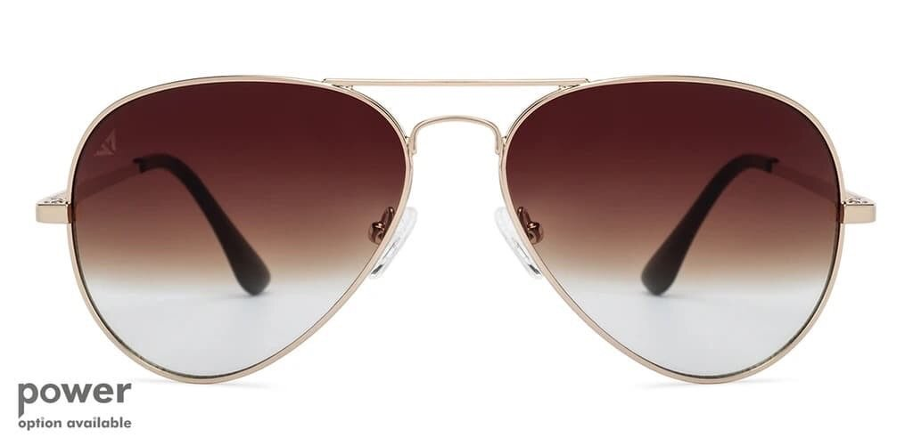 one of the most iconic sunglass models in brown and antique gold shades.