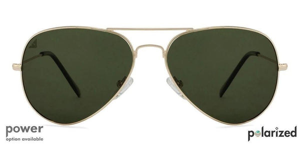 The green aviator with the bold touch of antique gold