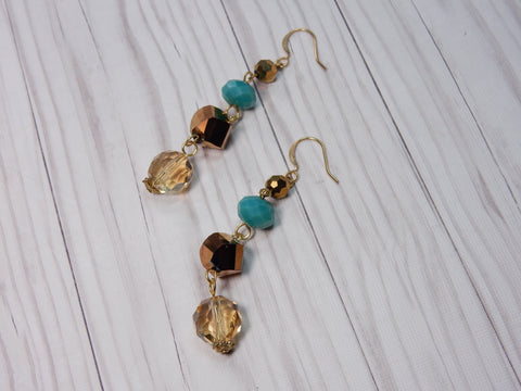 Turq, Bronze + Topaz Earrings